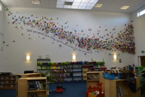 The library within Cedar Children's Academy