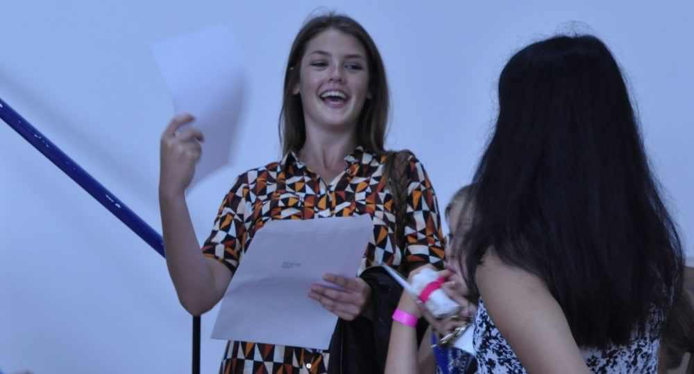 Students celebrating their exam results